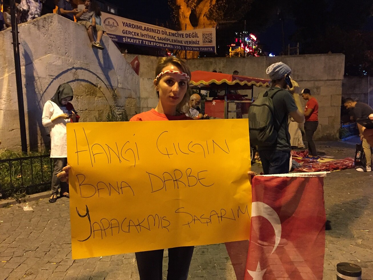 People attending the democracy watch showed their reaction to the coup attempt with the banners they prepared.