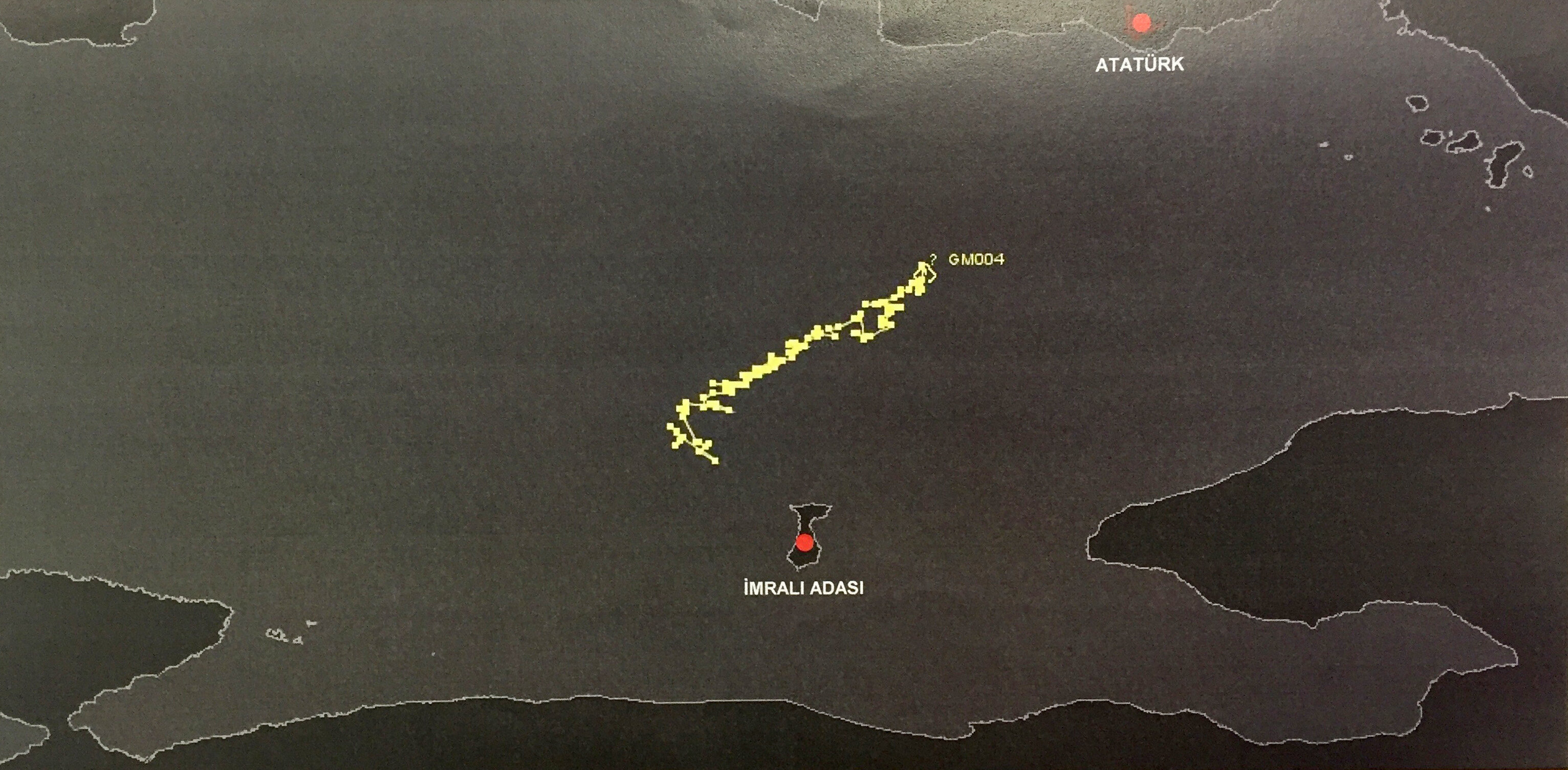 It was found that the helicopters were densely crowded around İmralı Island. The air traffic of different helicopters was reflected on the records at different times on İmralı Island.