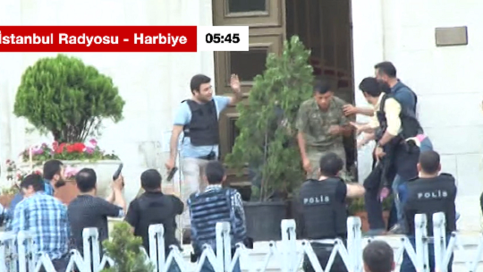 The moment the putschists surrendered in the TRT Istanbul Radio studio